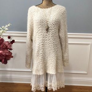 Altar'd State Fuzzy Lace Bottom Boho Sweater Dress